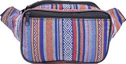 SoJourner Bags Fanny Pack – Tribal Boho Hippy Woven Eco Style (Blue & Red)