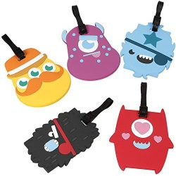 Bundle Monster 5 pc Silicone Mixed Design Travel Luggage Bag ID Tags – Set 3: Alien Abduction