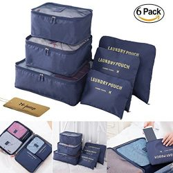 M-jump 6 Set Travel Luggage Organizer Packing Cubes, Laundry Bags & Digital Pouch, Luggage C ...