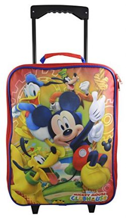 Disney Mickey Mouse Rolling Pilot Case Case Luggage w/ Bonus Coloring Book (Red)
