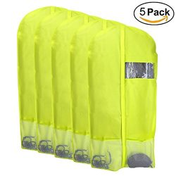 Kernorv Breathable Dust-proof Garment Bag, Set of 5 Environmental Zipper Suit Covers,49″ F ...