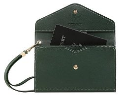 Krosslon Rfid Travel Passport Wallet Holder Tri-fold Document Wristlet Organiser Bag (8# Dark Green)