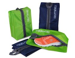 Shoe Bags for Travel Storage Gym Waterproof Nylon With Zipper for Men & Women (2 Green & ...