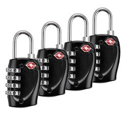 TSA Lock-Bardwil All Metal Easy Read 4 Digit Combination Lock 4 Pack, Best TSA Approved Lock For ...