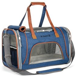 Airline Approved Soft Sided Pet Carrier by Mr. Peanut's, Low Profile Travel Tote with Flee ...