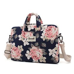 Canvaslife White Rose Patten Canvas Laptop Shoulder Messenger Bag Case Sleeve for 14 Inch 15 Inc ...