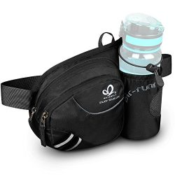WATERFLY Fashion Durable Unisex Outdoor Waist Fanny Pack with Water Bottle Holder Riding Climbin ...