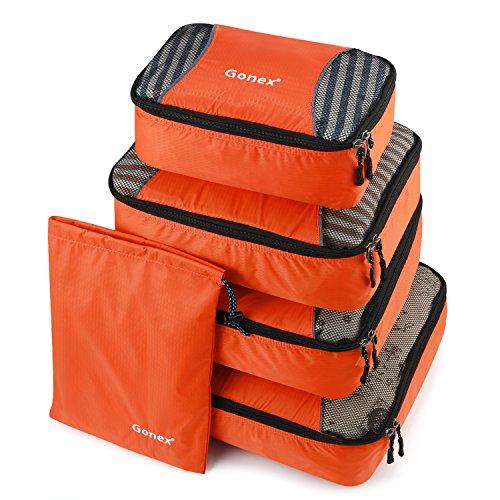Gonex Packing Cubes Travel Luggage Organizer with Shoe Bag (Orange ... 2cca8c88a0be5