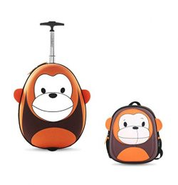 I-baby Kids Luggage Carry and Upright Hard Side 3D Cartoon Face Travel Buddies Luggage Set (Oran ...