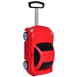 Goplus Kids Suitcase w/ Wheels Car Design Toddler Travel Luggage for Girls (Red)