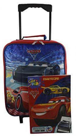 Disney Pixar Cars Rolling Pilot Case Luggage Carry-On w/ Bonus Coloring Book