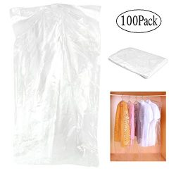 Pack of 100 Garment Bag, Transparent Suit Bag ,Clothing Dust Cover, Gown and Dress Dustproof Wat ...