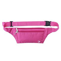 Ultrathin Casual Outdoor Sport Polyester Stealth Small Running Travel Waist Bag Rose Red