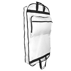 DALIX 39″ Garment Bag Cover for Suits and Dresses Clothing Foldable w Pockets White