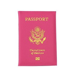 Tiean New Passport Holder Protector Wallet Business Card Soft Passport Cover (Hot Pink)