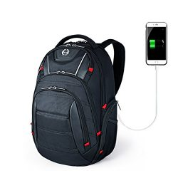 Laptop Backpack,Swissdigital Busniess Travel Polyester Backpack with USB Charging Port and RFID  ...