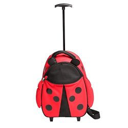 Red Balloon Little Kid Girls Luggage, Hazel Ladybug – with parent strap and carry handle