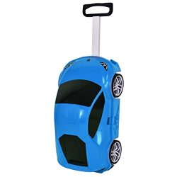 Goplus Kids Luggage Rolling Car Design Travel Suitcase for Toddler (Blue)