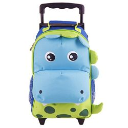 Yodo Zoo 3-Way Toddler Backpack with Wheels or Little Kids Rolling Suitcase Luggage, with Front  ...