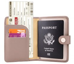 Zoppen Rfid Blocking Travel Passport Holder Cover Slim Id Card Case (33# Dusty Pink)