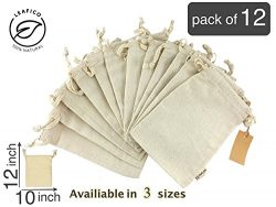 Produce Storage, Reusable & Multipurpose Muslin Bags With Drawstring, Large 10×12 inche ...