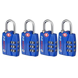 Forge TSA Locks 4 Pack Blue – Open Alert Indicator, Easy Read Dials, Alloy Body