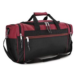 DALIX 21″ Blank Sports Duffle Bag Gym Bag Travel Duffel with Adjustable Strap in Maroon