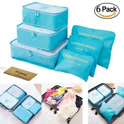 M-jump Clothes Storage Bags Packing Cube Travel Luggage Organizer Pouch,6 Set Travel Multi-funct ...