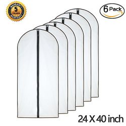 "Moth Proof Garment Bags 24"" x 40"" ( Pack of 6 ) Black Side Breathable Clear Full Zip ..."