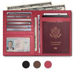 RFID Blocking Leather Passport Holder For Men and Women – Pink