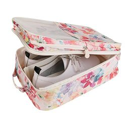 Travel Shoe Bag with Zipper Waterproof Portable Storage Organizer Bags for Women (Pink Floral)