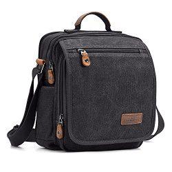 Plambag Canvas Messenger Bag Small Travel School Crossbody Bag Fit iPad Dark Gray