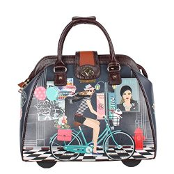 Nicole Lee Women's Stylish Print Bag, Rolling Wheels, Laptop Compartment Travel Tote, Bike ...