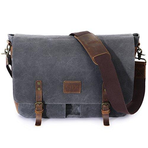 Lifewit Wax Canvas Messenger Bag Cross Body Laptop Conputer shoulder ... 500e13c0e8