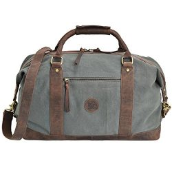 ESTALON Leather Overnight Duffle Bag Canvas Travel Tote Duffel Weekend Bag Luggage (Brown Crazy  ...