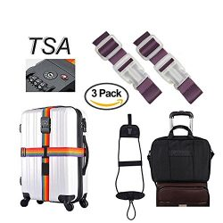 Loobani TSA Travel Luggage Strap with 3 Dial Approved Lock, Bag Bungee Strap ,2 pack Add a Bag L ...