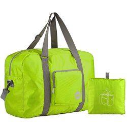 Wandf Foldable Travel Duffel Bag Luggage Sports Gym, Green