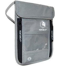 VENTURE 4TH Passport Holder Neck Pouch with RFID Blocking Travel Neck Wallet