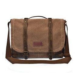 C-LEATHERS 15.6″ Laptop Messenger Bag for Men and Women Leather Messenger Bag Briefcase Sh ...
