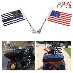 """E-Most 1 Pairs, Adjustable 6"""" x 9"""" American Flag & Foot Thin Blue Line USA Flag  ..."""