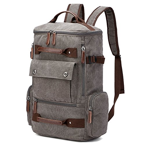 Yousu Canvas Backpack Fashion Travel Backpack School Rucksack Hiking Daypack  (Grey) 2ccb682076c3a