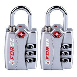 Forge TSA Locks 2 Pack Silver – Open Alert Indicator, Easy Read Dials, Alloy Body