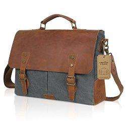 Lifewit Genuine Leather Vintage 15.6″ Laptop Canvas Messenger Satchel Bag (Grey)