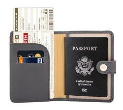 Zoppen Rfid Blocking Travel Passport Holder Cover Slim Id Card Case, #17 Dark Grey