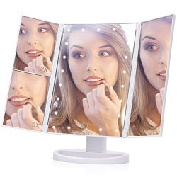 Lighted Makeup Mirror, EECOO 21 Led Lights Trifold Vanity Mirror with Touch Screen,1X 2X 3X Magn ...
