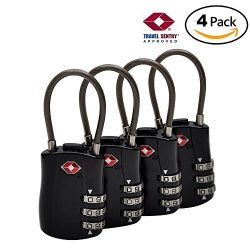 TSA Approved Travel Locks-Set Up Combination-Cable Luggage Locks Ideal for Travel GYM Backpack