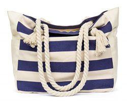 MalironaBeachCanvasTravelToteBag (Blue Stripes)