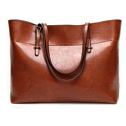 Leather Tote Bag for Women, Large Commute Handbag Shoulder Bag Lady Zipper Women's Work Satchel  ...