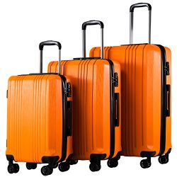 Coolife Luggage Expandable Suitcase 3 Piece Set with TSA Lock Spinner 20in24in28in (orange3)