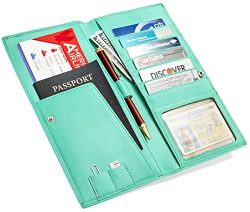 Travel Wallet – Passport Holder – Long Leather Wallet and Travel Document Organizer  ...